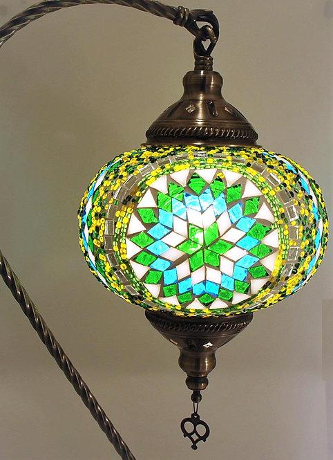XL Multi Coloured Absynth Mosaic Swan Necked Lamp