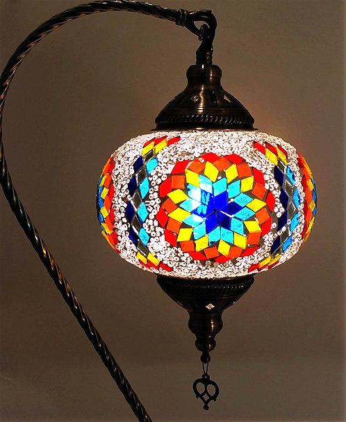 XL Multi White Star Mosaic Swan Necked Lamp