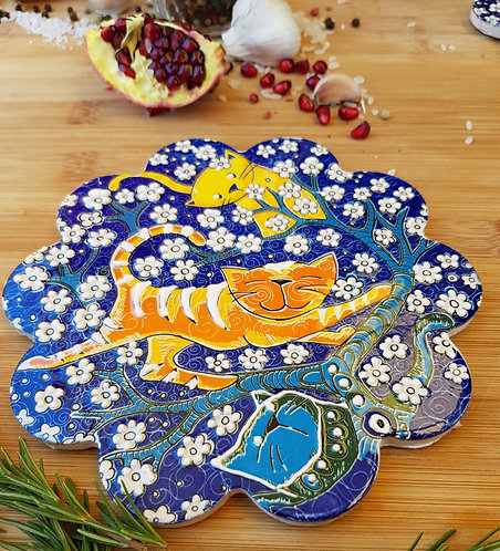 Cat and Tree of Life Hot Pot Holder
