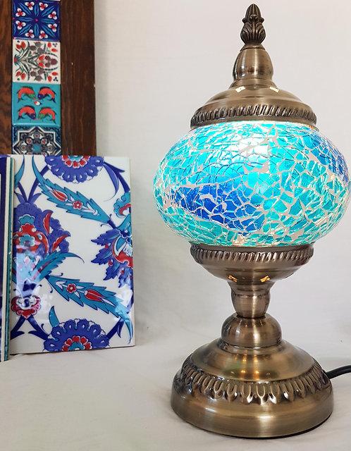 Blue Ocean Crackle Glass Lamp