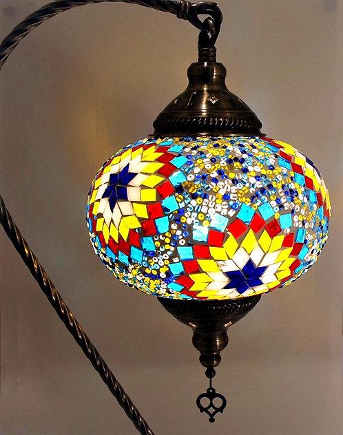 XL Multi Coloured Flower Mosaic Swan Necked Lamp