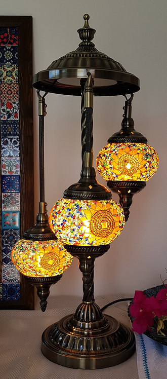 3 Hanging Chandelier Orange Star Mosaic Lamp Turkish Style