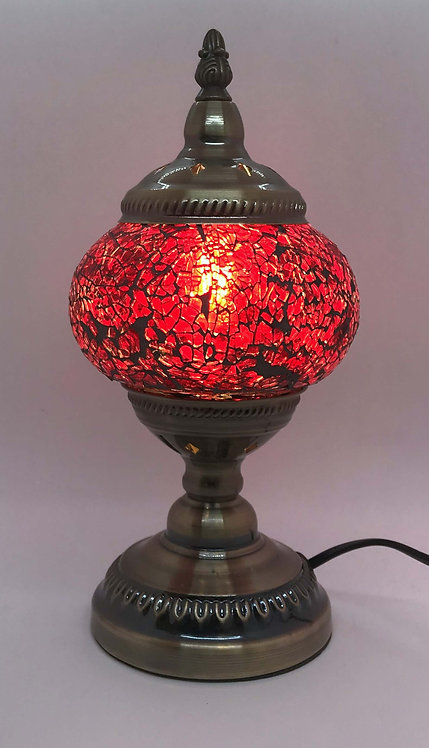 True Red Crackle Mosaic 13cm Stand Lamp
