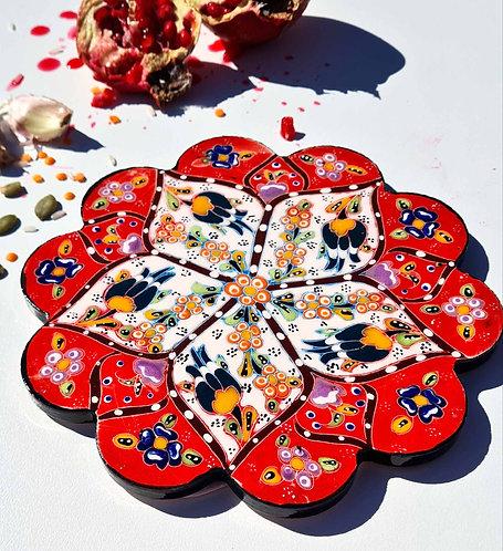 Hot Pot Trivet Ceramic - Red HandPainted