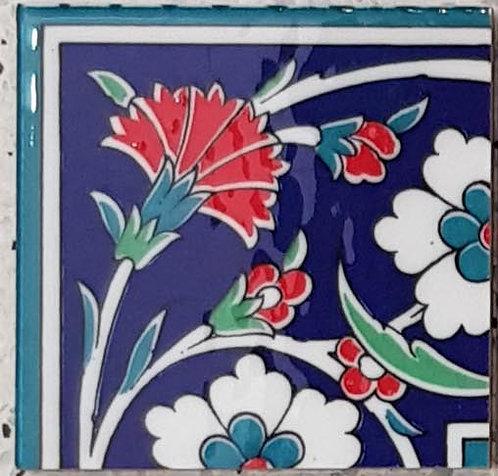 """Corner Tile """"Carnations"""" 10cm x 10cm"""