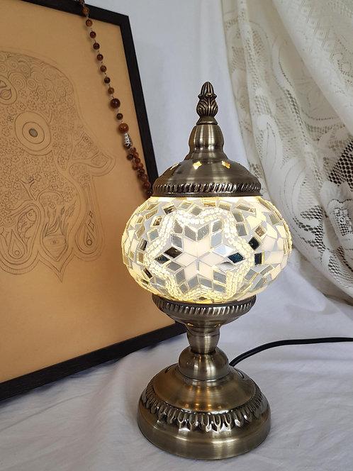 White Mosaic 13cm Stand Lamp