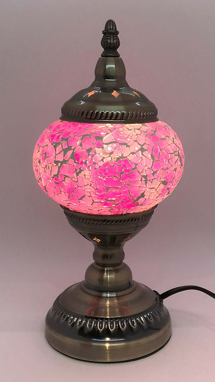 Pink Crackle Stand Lamp