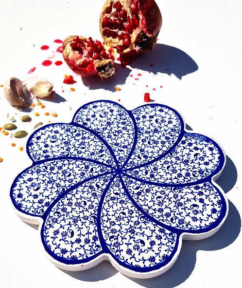 Hot Pot Trivet Ceramic -Blue Spiral