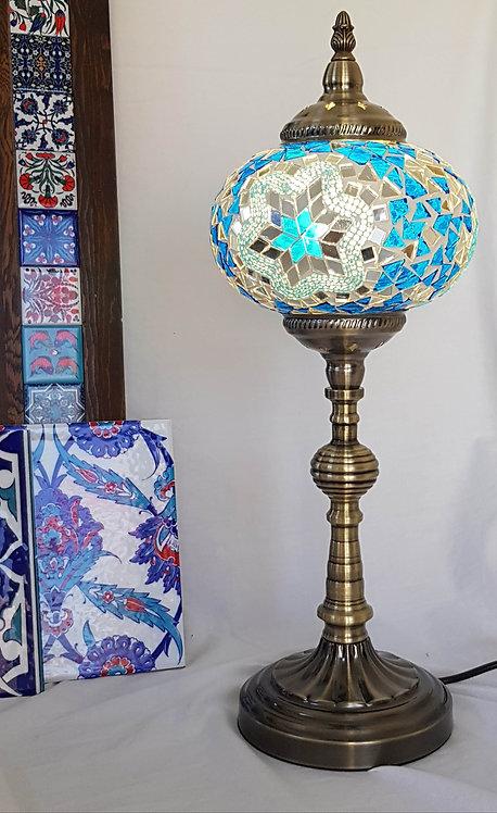 Ocean Blue Tall Mosaic Lamp