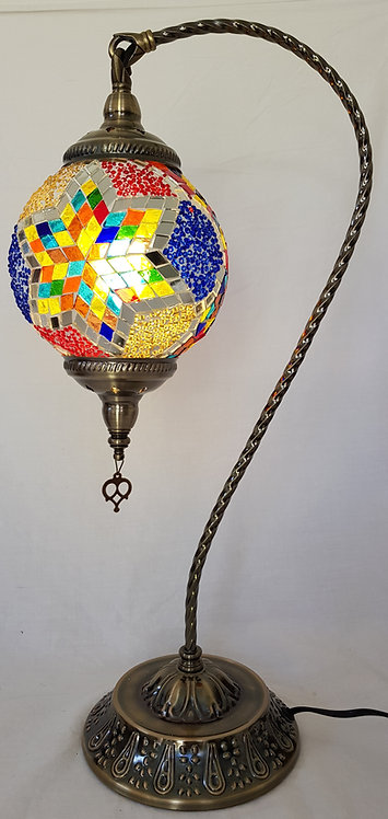 XL Multi Coloured Star Mosaic Swan Necked Lamp