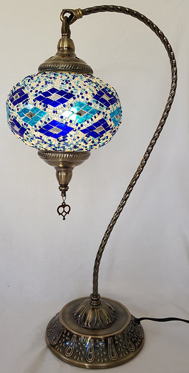 XL Blue Diamond Mosaic Swan Necked Lamp