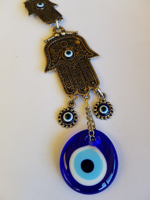 Dbl Hamsa Hand n Lucky Eye Metal