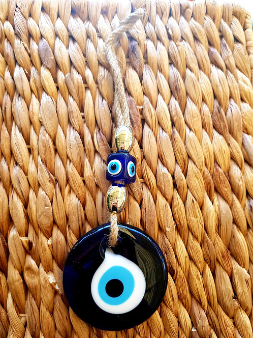 Medium Lucky Eye Jute String and Silver beads