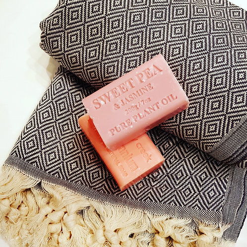 Turkish Towel and Muddy Creek Soap x 2