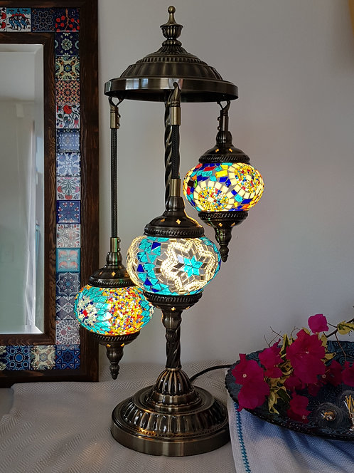 3 Hanging Chandelier Mosaic Lamp