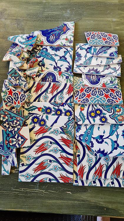 Box of Broken Assorted Turkish Tiles