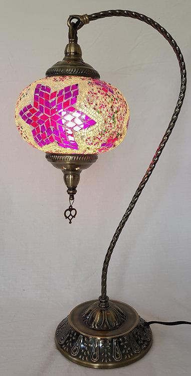 XL Magenta Mosaic Swan Necked Lamp