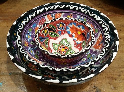 5 + 10 + 15cm Handpainted Ceramic Bowl Set