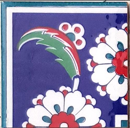 """Corner Tile """"White Rose"""" 10cm x 10cm"""