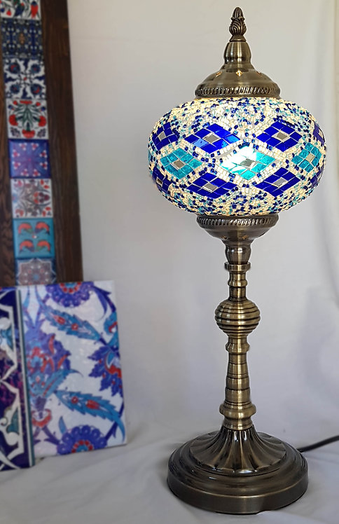 Blue Diamond Tall Mosaic Lamp