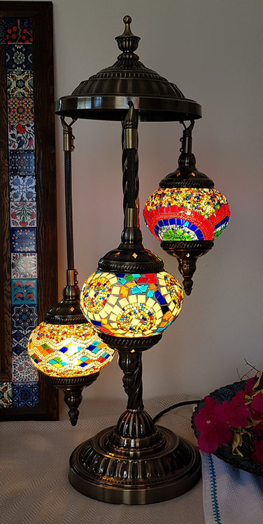 3 Hanging Special Warm Mixed Chandelier Mozaic Lamp Turkish Style