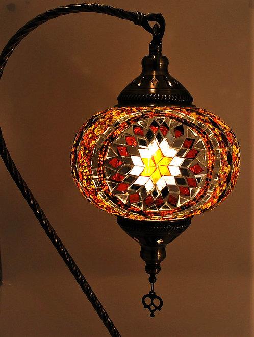 XL AMBER Mosaic Swan Necked Lamp