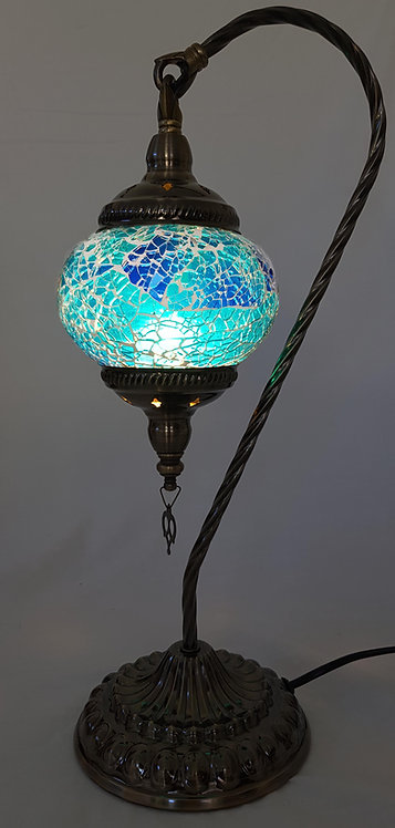 Blue Crackle Swan Necked Lamp