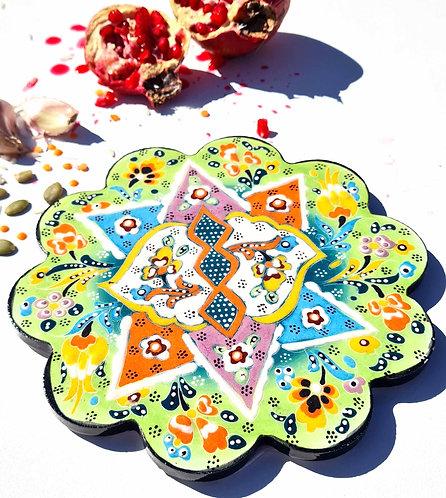 of Hot Pot Trivet Ceramic - Yesil HandPainted