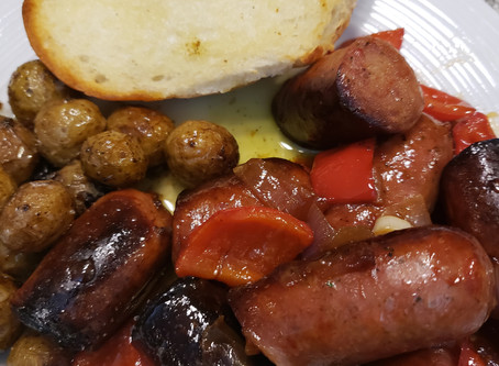 FRIED SAUSAGE, PEPPERS & ONIONS WITH  CHAGA TEA