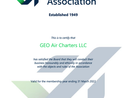 GEO Air Charters becomes a member of the Air Charter Association