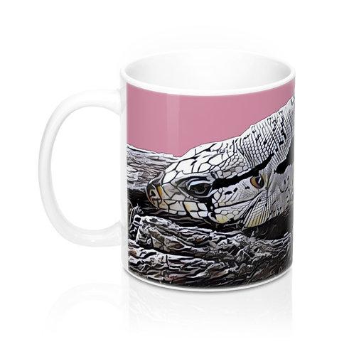 Bilzzard Blue Tegu Lizard Mug 11oz, Pink Mug, Tegu, Lizard, Tegu World