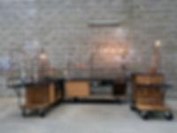 coffee shop mobile, stand de café ambulant, chariot, sur mesure, cuisine mobile, roulette