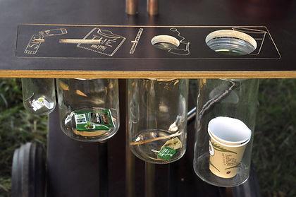 poubelle de tri sélectif, zambules, sur mesure, original, coffee shop, gravure laser