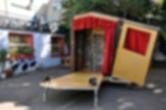 spectacle de rue, conception et fabrication, scénographie, achat spectacle, théâtre ambulant