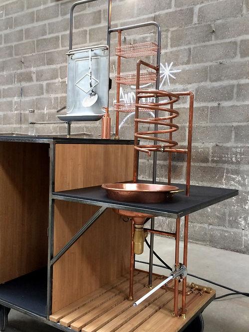 evier, mobile, coffee shop, cuivre, cuisine mobile, lavabo, spirale, esthétique brut, design