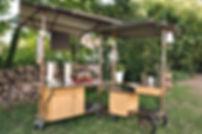 buissonnières, saint brieuc, cuisine mobile, chariot, conception, sur mesure, plantes, autogestion, stand mobile, dégustation, animation de rue, design
