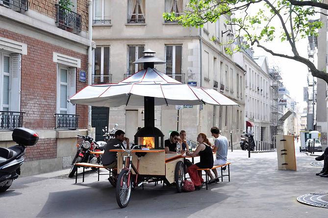 salon mobile, triporteur, cheminambule, cheminée mobile, barbecue, design, concept, z'ambules