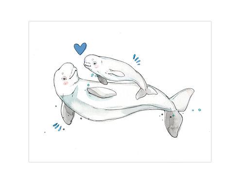Grande Affiche Maman et Bébé Béluga