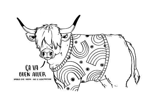 COLORIAGE - Vache Highland / Ça va bien aller!