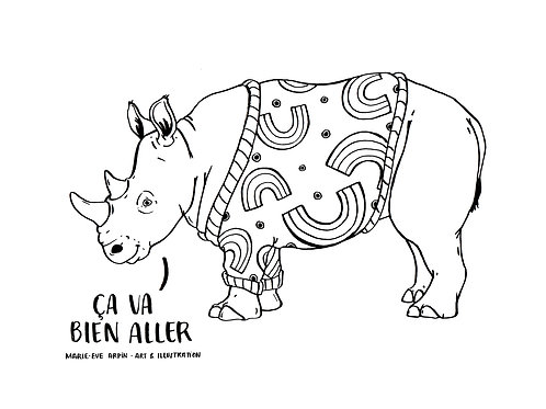 COLORIAGE - Rhinocéros / Ça va bien aller!