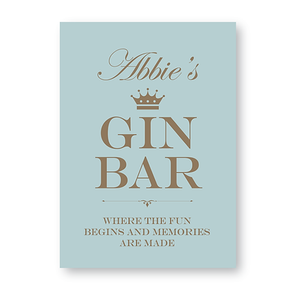 Gin Bar Sign, Personalised Gin Bar Sign, Gin Sign