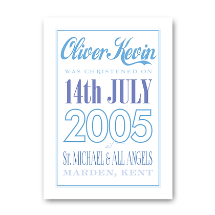 Personalised birth date print