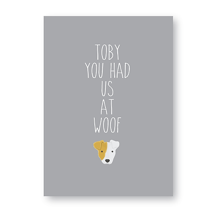 You Had Us At Woof Sign, Personalised Jack Russell  Dog Sign