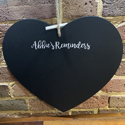Heart Chalkboard, Personalised Reminder Chalkboard 420mm x 420mm