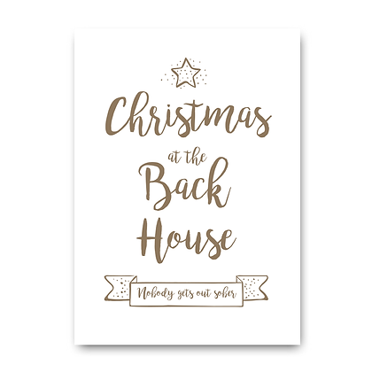 Personalised Christmas Sign, Christmas At The Back House