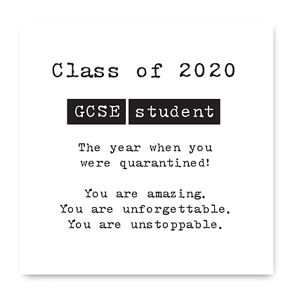 Class Of 2020 GCSE Student Card, Isolation Card 2020, Lockdown Card