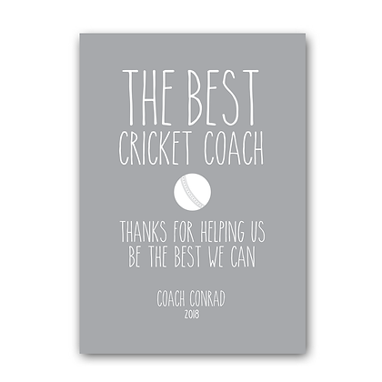 The Best Cricket Coach Sign, Cricket Coach Sign