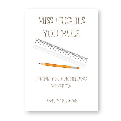 You Rule Teacher Sign, Teacher Gift, Personalised Teacher Sign