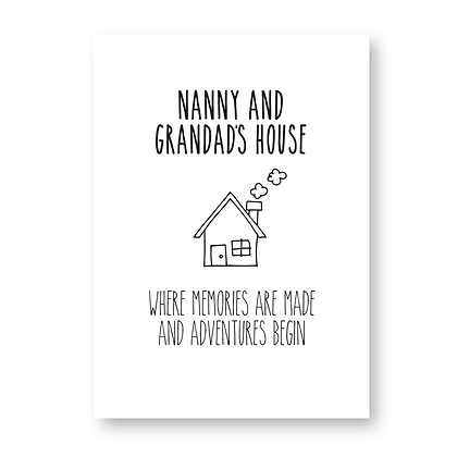 Nanny and Grandads House Sign Print