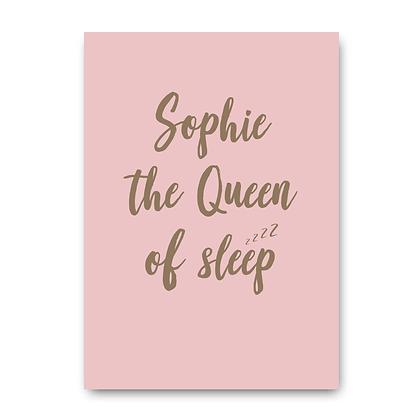 Queen Of Sleep Sign, Personalised Queen Of Sleep Sign